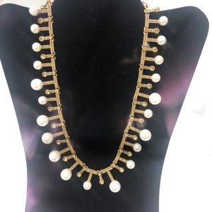 Oscar de la Renta faux pearls & amber crystals